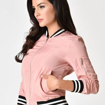 1950s Style Baby Pink Bomber Jacket