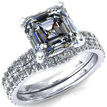 Nefili Asscher Moissanite 4 Prong 3/4 Eternity Diamond Accent Engagement Ring