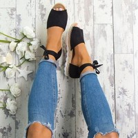 Flatform Ankle Tie Open Toe Espadrilles 4 Colors
