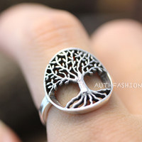 Sterling Silver Ring Tree of Life Ring Wish Tree Gift Idea 6.5 / 7.5 US Size