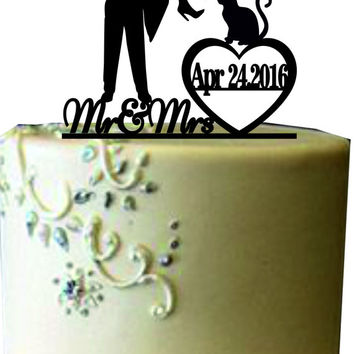 Unique Wedding Cake topper, Mr and Mrs Wedding cake topper, Bride and groom wedding cake topper, Funny silhouette wedding cake topper a cat