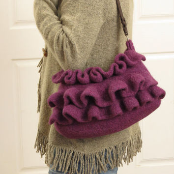 Amethyst Ruffle, Felted Purse Pattern, Knit Bag Pattern, Felted Purse, Knitted Purse, Knitting Pattern, Instant Download, PDF