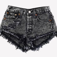 Keepers Black Acid Cut Off Cheeky Shorts
