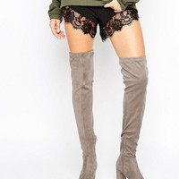 River Island Wide Fit Suede Thigh High Boot at asos.com