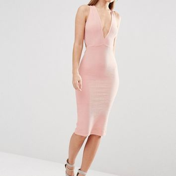 Oh My Love Plunge Bow Back Midi Dress at asos.com