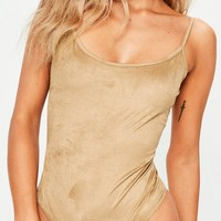 Missguided - Tan Faux Suede Scooped Back Bodysuit