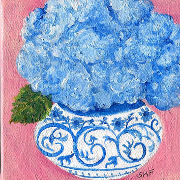 Blue Hydrangeas mini painting, acrylic on small canvas, Flowers artwork, 4 x 4, blue and white Oriental vase