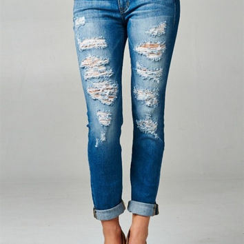 Distressed Boyfriend Rolled Up Jeans -Ships Thursday August 18th