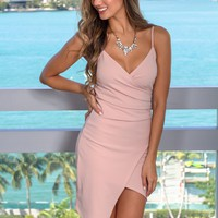 Nude Rose Short Dress with Ruched Side