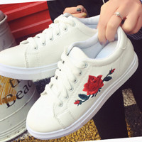 Fashion Women  Rose embroidery flat shoes sports shoes white