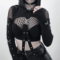Pastel Goth Black Crop Top Long Sleeve Steam Punk
