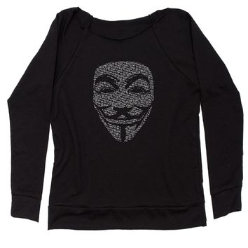 V For Vendetta Anonymous Mask Slouchy Off Shoulder Sweatshirt