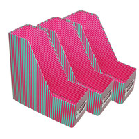 File Boxes, Desk Organizers, Magazine Holders, Containers - Set of 3 Pink/Mint Stripe