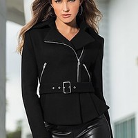 Black (BK) Belted Crop Coat