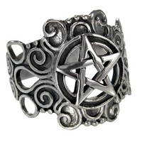 Large Sterling Silver Ornate Pentacle pentagram Ring Pagan Wiccan Jewelry (sz 4-15)
