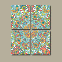 Wall Art Canvas Kitchen Bedroom Pottery Aztec Paisley Decor Bathroom Mandala Ornament Design Floral Set of 4 Prints Bedding Comforter