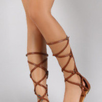 Women's Liliana Strappy O-Ring Mid-Calf Gladiator Flat Sandal