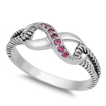 Sterling Silver Ruby Red CZ Infinity Ring with Cable Band Size 4-10