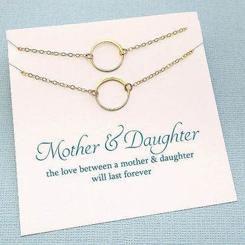 Mother Daughter Necklace Set | Eternity Circle Necklace | Necklace Set | Gift for Mom | Mother Daughter Jewelry | Silver or Gold | MD01