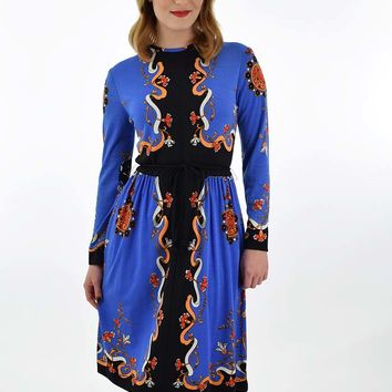 70s Paganne Art Nouveau Border Print Dress