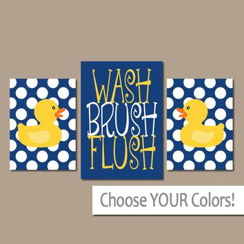 Navy Yellow DUCK Bathroom Wall Art, CANVAS or Prints Rubber Duckie Bathroom Rules WASH Brush Flush Polka Dots Set of 3 Boy Bathroom Pictures
