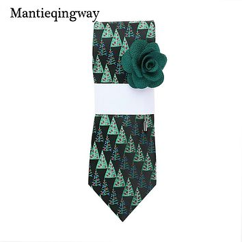 New Designers Green Neck Ties For Mens Christmas Tree Pattern Suits Neckties Male Neck Tie With Brooch Gifts Sets