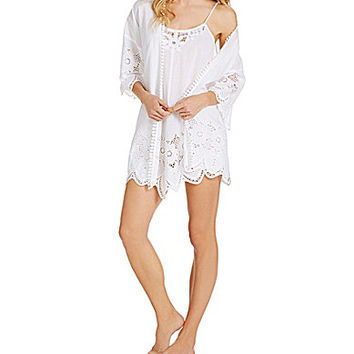 In Bloom by Jonquil Cotton Eyelet Short Wrap Robe - White