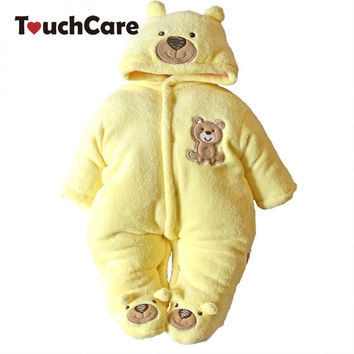 Thick Warm Cotton Fleece Baby Long Sleeve Hooded Romper Baby Girl One Pieces Cute Clothes Jumpsuits Roupas De Bebe Infantil