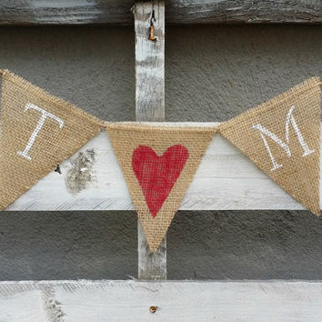 personalized wedding initials burlap banner rustic wedding bann