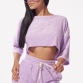 Lavender French Terry Two Piece Terry Cloth Short Set
