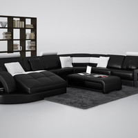 Divani Casa 6140 Modern Black and White Bonded Leather Sectional Sofa