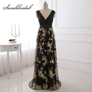Real Pictures Gold Shining Appliques Black Lycra Prom Dresses with Bow Sashes V-Neck Cheap Custom Made Evening Party Gowns SD403