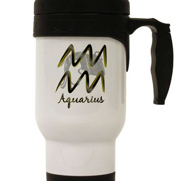 Aquarius Symbol Stainless Steel 14oz Travel Mug