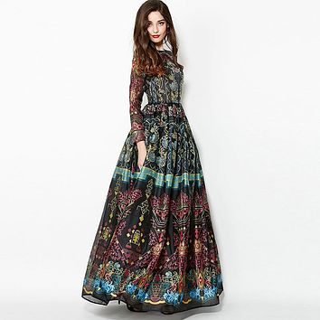 Vintage Dress New 2016 Summer Fashion New High Quality Retro Print Ball Gown Long Sleeve Floor Length Elegant Street Dress