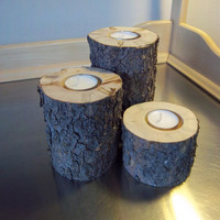 tea light candle holders, log candle holders, rustic wedding gift, set of 3, housewarming gift, primitive wedding, woodland lodge decor