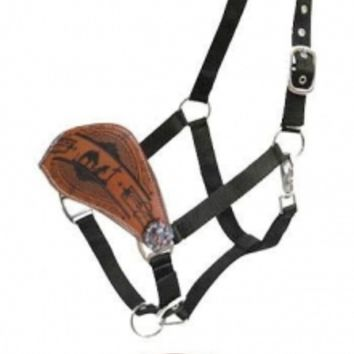 Showman Leather Bronc Nose Nylon Halter With Praying Cowboy