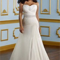 A-line Sweetheart Beadind Chapel Train 2012 Plus Size Wedding Dress WD2081
