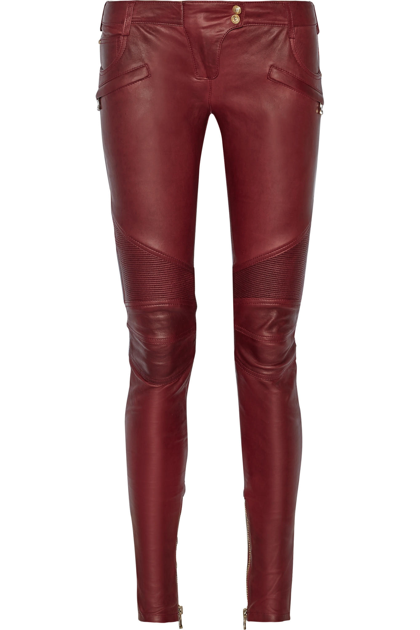 bb8d5fb8 Balmain - Moto-style leather skinny pants from NET-A-PORTER