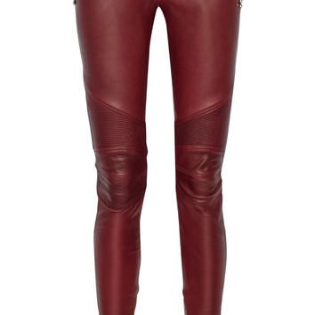 Balmain - Moto-style leather skinny pants