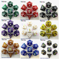 7pcs/bag High Quality Marble effect Dice Set, D4,d6,d8,d10,d10%,d12,d20 dice sets for Dnd Game dice