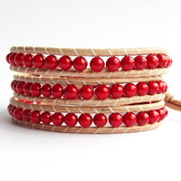 Red Wrap Bracelet, Natural Leather and Bead Bracelet, Crimson Red Beads