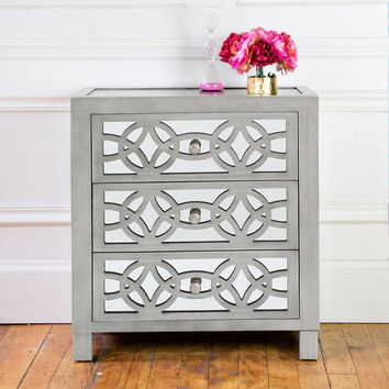 "28"" H Glam Slam 3 Drawer Mirror Chest 