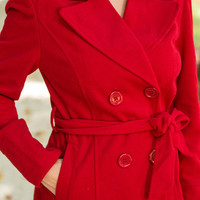 The Anna Pea Coat, Red