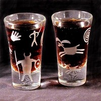 2 Playful Petroglyph Shooters Etched Glass by bradgoodell on Etsy