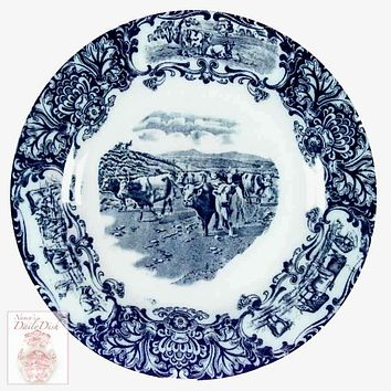Scenic Cattle Drive Cow Plate Antique Wedgwood Dark Navy Blue Transferware