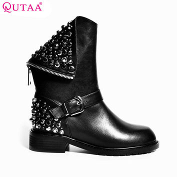 QUTAA 2017 Punk Rhinestone PU+Leather Square Low Heel Woman PU leather Ankle Boots Women Shoes Ladies Motorcycle Boot Size 34-43