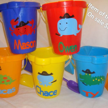 On Sale. Pirate Personalized Sand Bucket . You create a character bucket for your child.