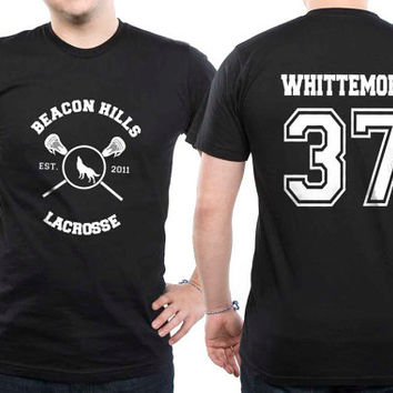 Whittemore 37 Beacon Hills Lacrosse Wolf Men Short Sleeves Black Tshirt tee