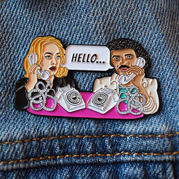 Hello Enamel Pin, Unofficial, Adele and Lionel Richie, lapel pin badge