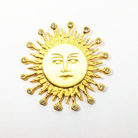 The Icing Sun Brooch Vintage 1990s Gold Tone Rhinestone Rays Sunshine Modern Designer Signed Pin Zodiac Face Eyes Nose Mouth